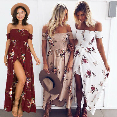 UK Womens Boho Off Shoulder Floral Maxi Ladies Summer Holiday Beach Party Dress