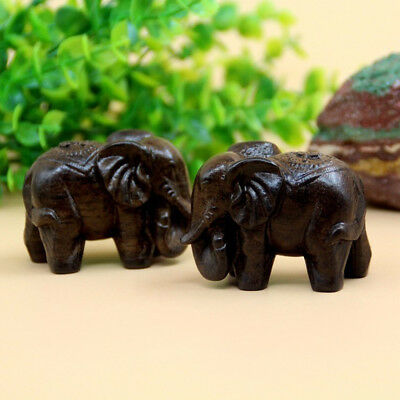 Chinese Fengshui Wooden Elephant Buddha Statue Figurines Crafts Ornament B1I4