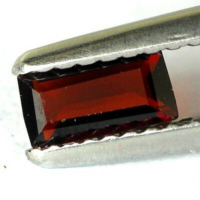 #0.34 cts. 6 x 3.1 mm. UNHEATED NATURAL RED ALMANDINE GARNET RECTANGLE AFRICA