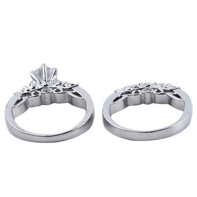 Couple Fashion Rhinestone Engagement Wedding Ring for Female and Male B