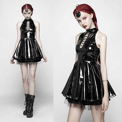 PUNK RAVE Lack Skater Dress Lackkleid Schwarz Gothic Cyber PVC Vinyl Dress Black