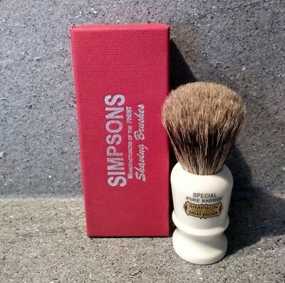 Simpsons Special Pure Badger Shaving Brush - British Made