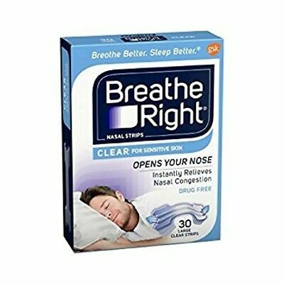 Breathe Right Nasal Strips Clear Sensitive Skin Large Snoring Stopper Drug Free
