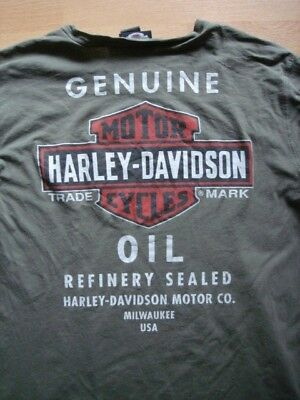 Original Harley Davidson T-Shirt Langarm army green Oil Refinery Sealed XL