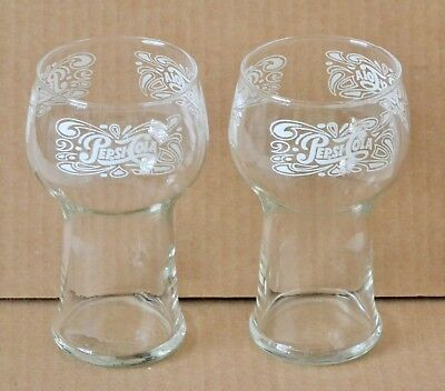 Pepsi Cola Vintage Clear Glasses with White Letters 16 oz. Collectible Set of 2