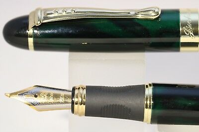 Jinhao x450 Very Dark Green Marble Fude Calligraphy Fountain Pen with Gold Trim