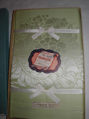 """Vintage NOS Green Damask Tablecloth - 56"""" x 76"""" W/ 8 Napkins - In Box"""