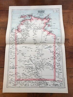 1899 double page map from g.w. bacon - australia - northern territory