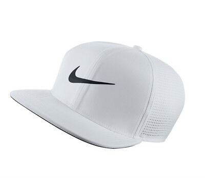 c6a45b0bb8d NEW 2018 Nike Aerobill Pro Cap Perforated White Adjustable Flatbill Hat Cap