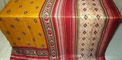 Yellow Cream Pure Silk 4 yard Vintage Sari Saree SALE DEAL BARGAIN Good #9EDTY