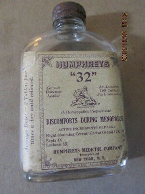 """Vintage  Humphreys  """"32"""" Homeopathic Preperation For Menopause Antique"""