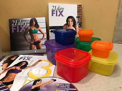 21 DAY FIX DVD SET + 7 x PORTION CONTROL POTS BOXES FOOD HEALTHY TRAIN YOUR BODY