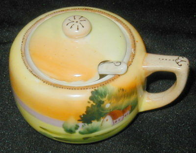 OLD NIPPON PORCELAIN HAND PAINTED JAM JAR, MUSTARD POT w HOUSE, TREES, SPOON