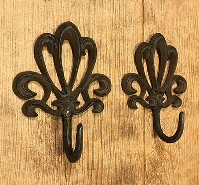 Rust Cast Iron Wall Hooks French Style (Set of 2) Home Decor 0170-01623