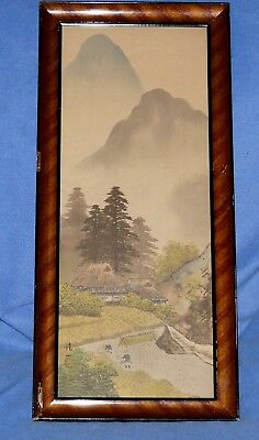 """Antique Japanese Silk Painting~ Signed ~ Handpainted~ Mountain Scene, 10"""" X 22"""""""