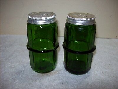 "Large 4 1/2"" Round Hoosier Kitchen Style Green Glass Salt & Pepper Shakers"
