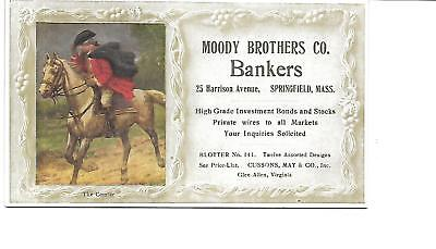 """SPRINGFIELD MASS   INK BLOTTER #86  6x3.5""""  MOODY BROTHERS BANKERS"""