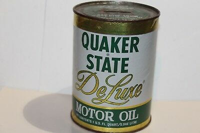 Vintage Quaker State Deluxe  10W40 Motor Oil Promotional Tin Can Bank