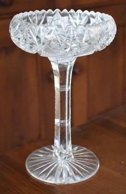 Gorgeous Etched Cut Glass Tall Compote Candy Dish With Zipper Cut Stem Star Base
