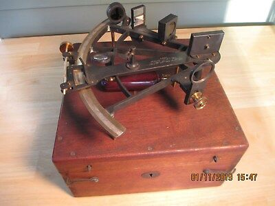 Vintage Buff & Buff Antique WWI Sextant in original 1907 wooden box