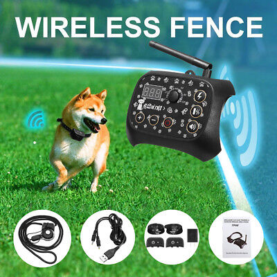 Wireless Dog Fence Training Shock 2Collar Pet Electric Trainer System w/Receiver