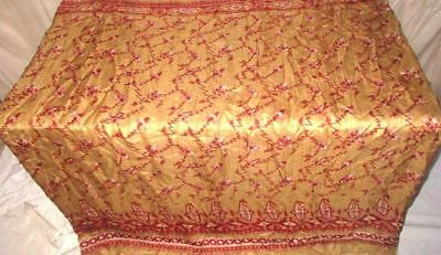 Brown Maroon Pure Silk 4 yard Vintage Sari Saree Pattern Patterns Ladies #9EDX6