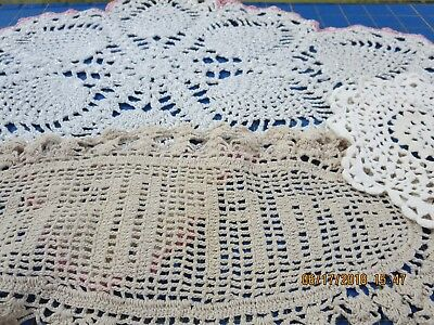 Lot Of 4 Vintage Doilies--(3) Hand Crochet--(1) Embroidered--#b25