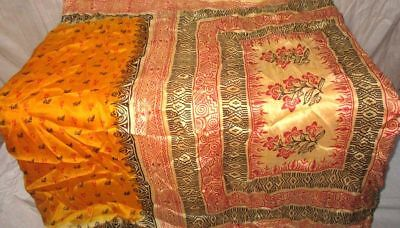 Golden Cream Pure Silk 4 yd Vintage Sari Saree Pattern Costumes Beautiful #9EDXJ