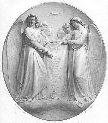 HEAVEN ANGELS HOLD THE GOLDEN RULE TABLET ~ Old 1864 BIBLE Art Print Engraving