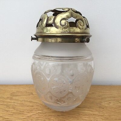 Small Antique 19th Century Etched Glass and Brass Hanging Pendant Lightshade