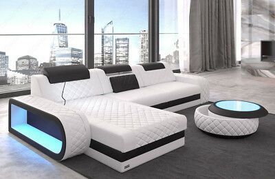 Ledersofa Eckcouch Sofa Design Luxus Couch BERLIN L Form mit LED Beleuchtung USB