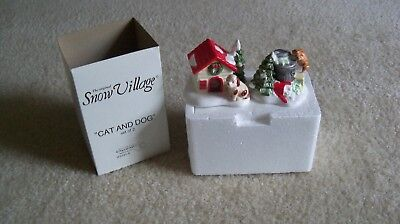 Snow Village Department 56 cat and dog in box