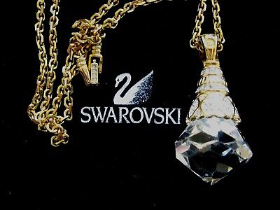 Swarovski Swan Signed Large Clear Crystal Pendant Necklace Rare Retired