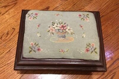 ANTIQUE EMPIRE MAHOGANY Rectangular FOOTSTOOL Foot Stool NEEDLEPOINT Roses