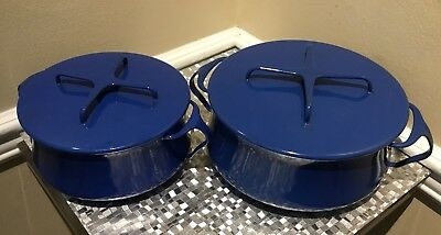 MID CENTURY DANSK KOBENSYTLE IHQ BLUE ENAMEL STOCK POT-3  QUART And 1 1/2 QUART