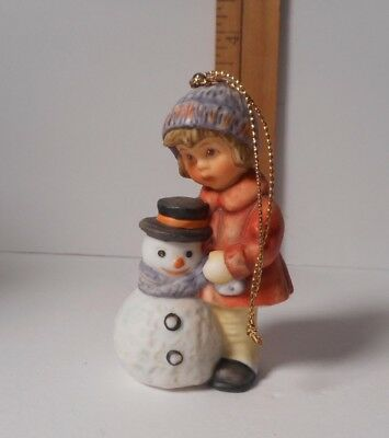 1999 Goebel / Hummel Little Girl with Snowman  Ornament  No Original Box