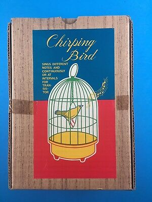 Mid Century Japanese Transistor Battery Chirping Bird In Cage Sealed In Box