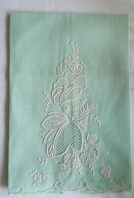 Antique Vintage Embroidered White Cut-Work On Light Green Linen Guest Towel