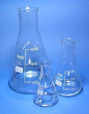 Branded Graduated Conical Erlenmeyer Boro 3.3 PYREX Glass Laboratory Flasks