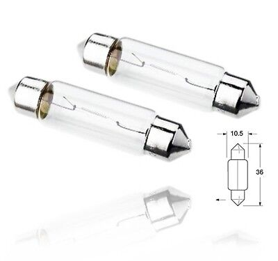 2x Number License Plate Interior Light Clear Festoon C5W 36mm Halogen Bulbs