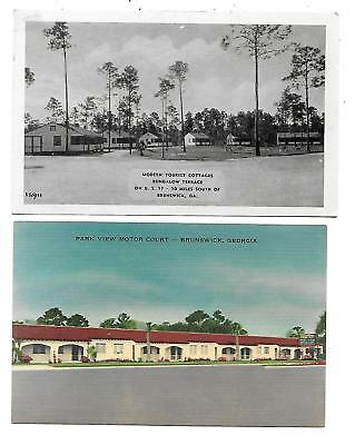 Brunswick, GA - 2 Cards - Cottages - Motel
