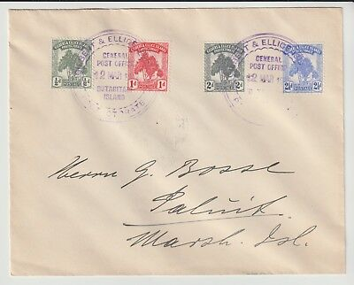 Gilbert & Ellice Island Stamps 1911 Envelope To Marshall Islands From Collection