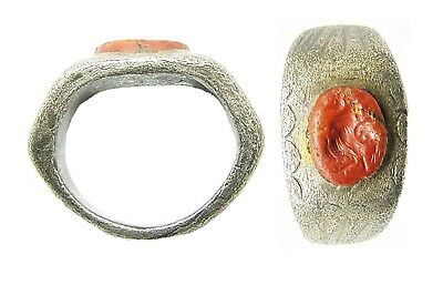 2nd - 3rd century A.D. Ancient Roman Silver Intaglio Ring Gryllos Magical Gem