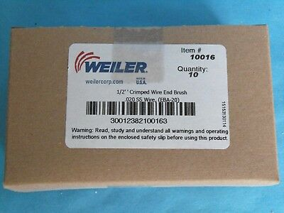 "NEW WEILER 1/2"" STAINLESS STEEL CRIMPED CUP WIRE END BRUSH 10016 LOT of 10"