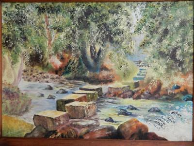 old PAINTING oil STEPPING STONES signed DOUGLAS REAY