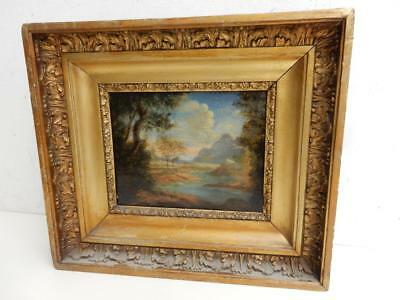 antique really old PAINTING oil wood panel landscape
