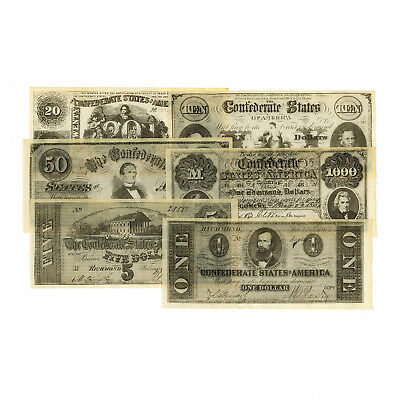 1 set of 6 different Confederate antiqued reproduction Set C currency uniface