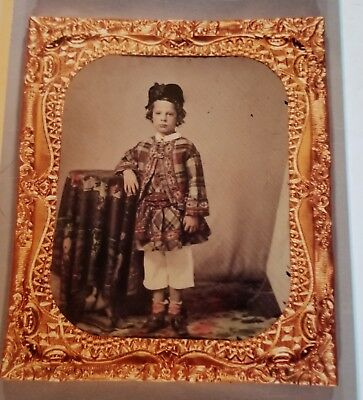 Interesting Child Hand Tinted Ambrotype 1/6 plate Beautiful!  No case. Free Ship