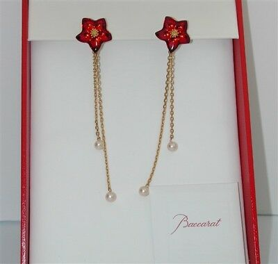 $2,500~Baccarat 18Kt Star Flower & Pearl Chandelier Earrings-Stunning! $99