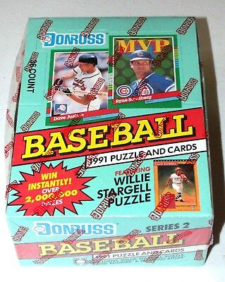 1991 Donruss Baseball Cards Series 2 Factory Sealed Unopened Box of Packs